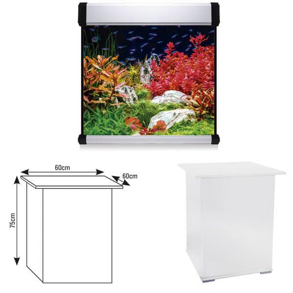Acuario cubo 60x60x60 blanco con mesa